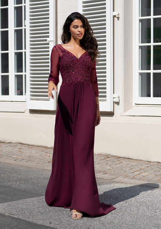 Langärmliges Abendkleid aus Chiffon in Royal Purple