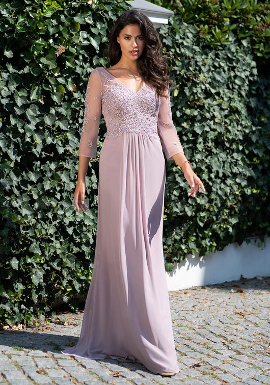Long sleeve evening Chiffon dress in Orchid Lilac