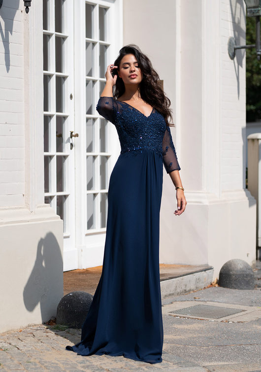 Long sleeve evening gown in Twilight Blue