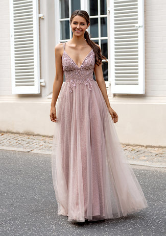 Glitter evening dress with tulle and back lacing in glitter pink