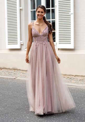 Vestido de noche de purpurina con tul y lazada en la espalda en rosa purpurina