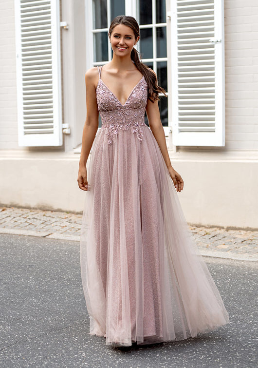 Glitter evening dress with tulle and back lacing in Pink Glitter