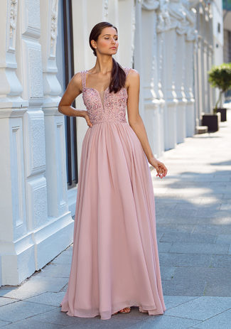Evening dress made of Chiffon in Dawn Pink