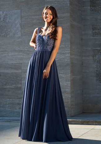 Evening dress made of Chiffon in Indigo Grey