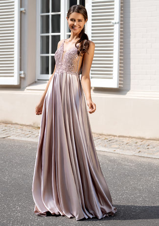 Evening dress made of Satin with narrow straps in the Shining Dawn