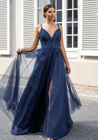 Glitter evening dress with tulle and laced at the back in Glitter Ocean