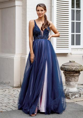 Abendkleid aus Tüll mit Strassbesatz in Blue & Pink