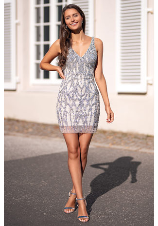 Cocktail dress with rhinestone trim in Ghost Grey