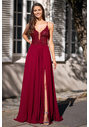 Evening dress with embroidery decorations in Rio Red