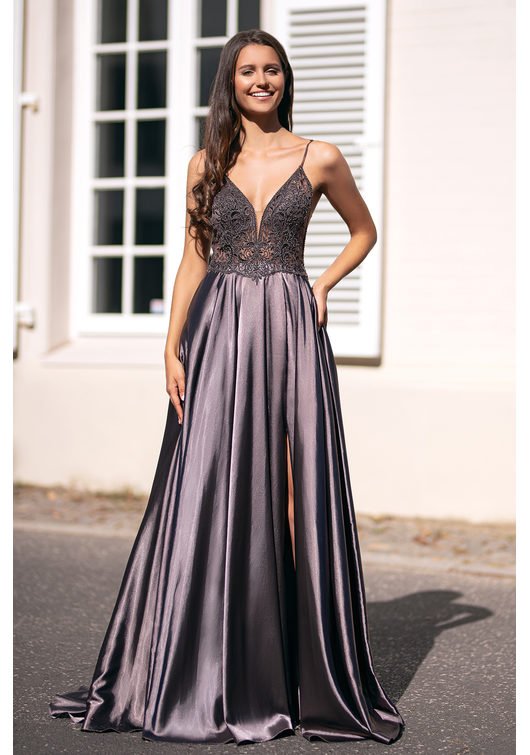 Evening dress made of Satin with narrow straps in Shining Brown