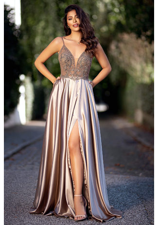 Evening dress made of Satin with narrow straps in Shining Gold