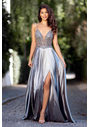Evening dress made of Satin with narrow straps in Shining Silver