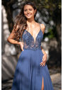Evening dress made of Chiffon with thin straps in Vintage Indigo