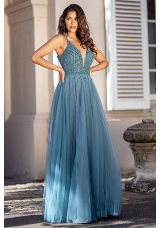 Abendkleid aus Tüll mit Rückenschnürung in Moonlight Jade