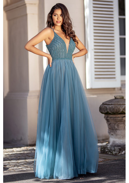 Evening dress made of tulle with lace-up in Moonlight Jade