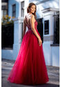 Evening dress made of tulle with rhinestones in Virtual Red