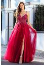 Vestido de noche de tul con pedrería en Virtual Red