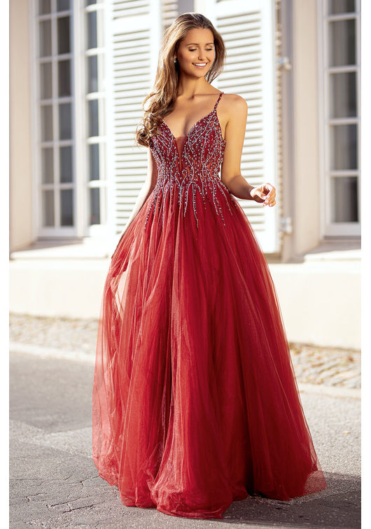 Robe de soirée en tulle avec strass en rouge Rio