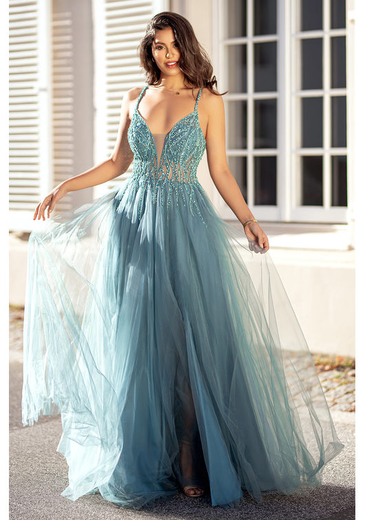 Evening dress made of tulle, with Rhinestones in the Moonlight Jade