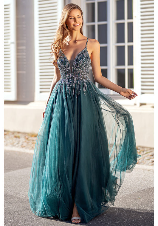 Evening dress made of tulle with Rhinestones in Botanical Green