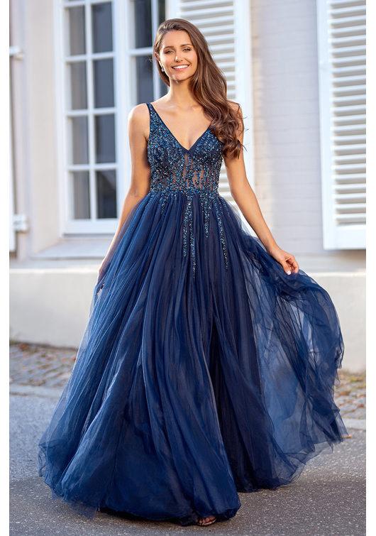 Abendkleid aus Tüll mit Strassbesatz in Twilight Blue