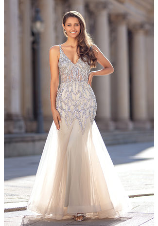 Tulle evening dress in Ghost Gray
