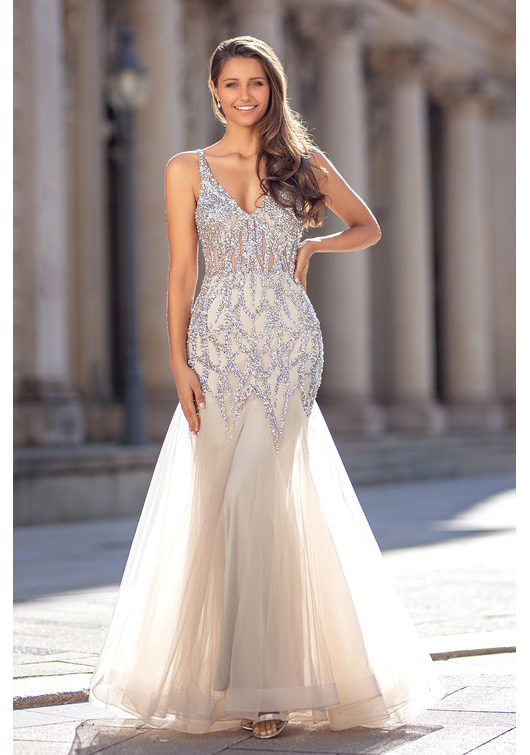 Tulle evening dress in Ghost Grey