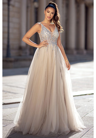 Evening dress made of tulle with rhinestones in Ghost Gray