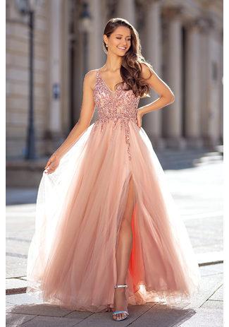 Abito da sera realizzato in tulle con strass in Dawn Pink