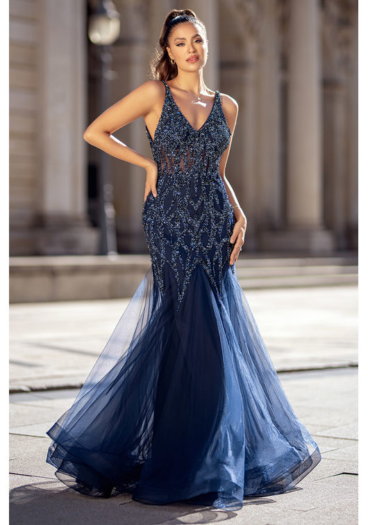 Tulle evening dress with elaborate ornament in Twilight Blue