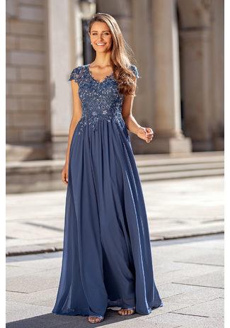 Vestido de noche de gasa con bordado en índigo vintage
