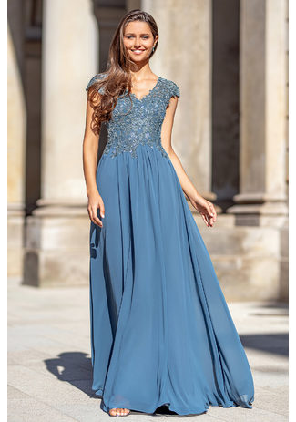 Evening dress made of chiffon with embroidery in Moonlight Jade