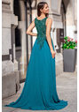Evening dress made of chiffon with glitter decor in posy green with closed back