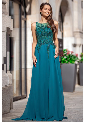 Evening dress made of Chiffon with glitter decor in Posy Green with a closed back