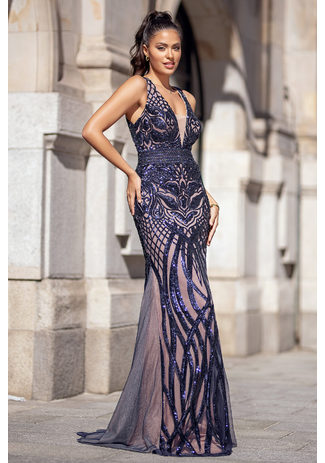 Abendkleid mit aufwendiger Paillettenstickerei in Twilight blue