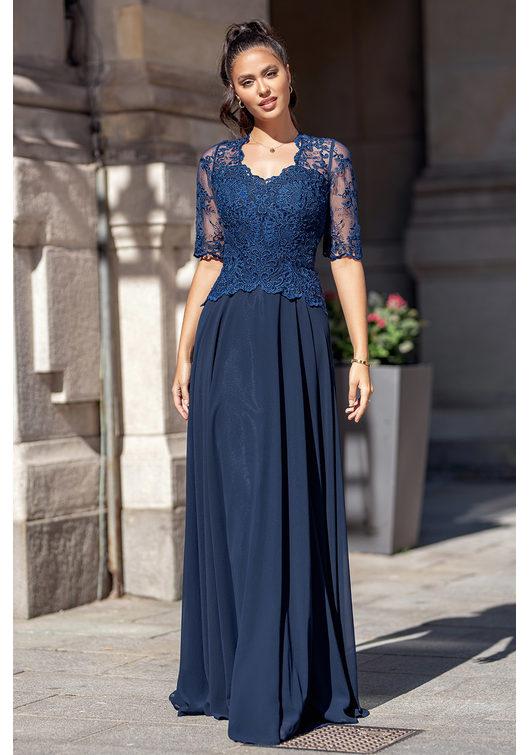 Chiffon Abendkleid mit halblangen Ärmeln in Twilight Blue