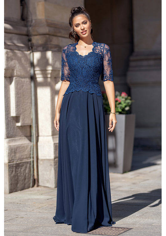 Chiffon evening dress with half length Sleeves in Twilight Blue