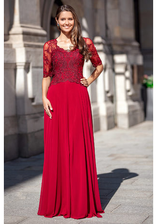 Chiffon evening dress with half length Sleeves in Rio Red
