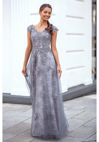 Abendkleid mit Spitze in Ghost Grey