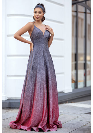 Glitter dress with gradient color in Glitter Grey & Red