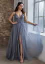 Glitter evening dress with tulle and back lacing in glitter vintage