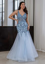 Tulle evening dress with elaborate decoration in aqua blue