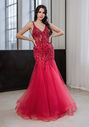 Tulle evening dress with elaborate ornamentation in cherry red