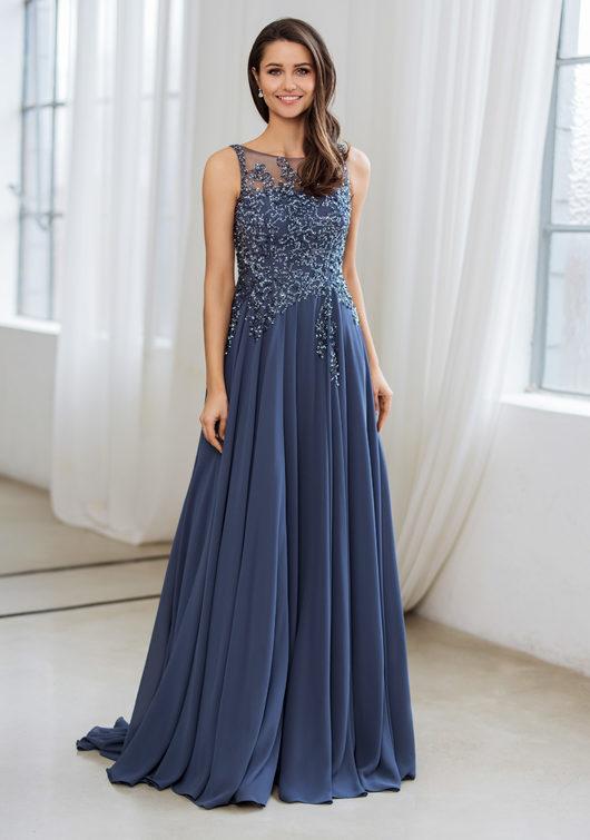 Noble evening dress made of chiffon in vintage indigo