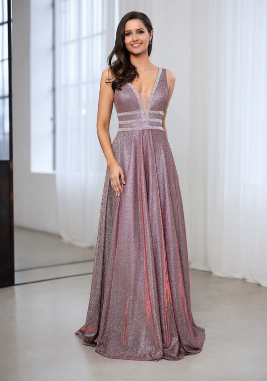 Glitter evening dress with rhinestone decor in glitter Rio
