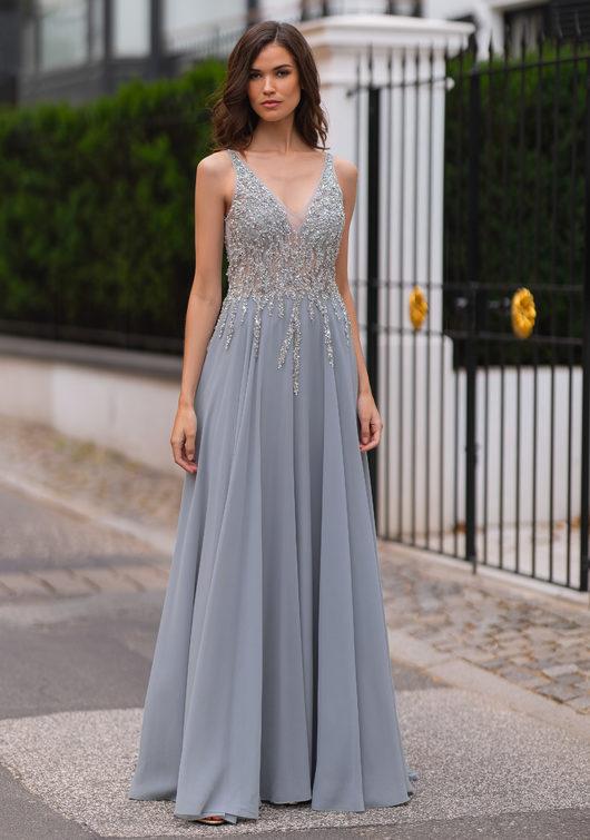 Chiffon Abendkleid mit Strass-Verzierungen in Ghost Grey