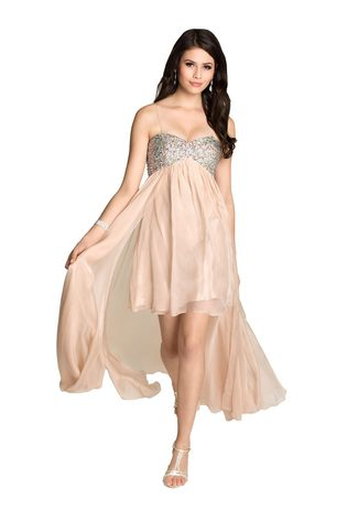 Multi-layered mullet chiffon dress with back train in Beige