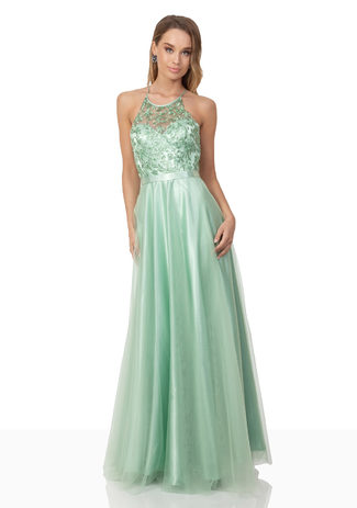 Besticktes Abendkleid aus Chiffon in Moonlight Jade