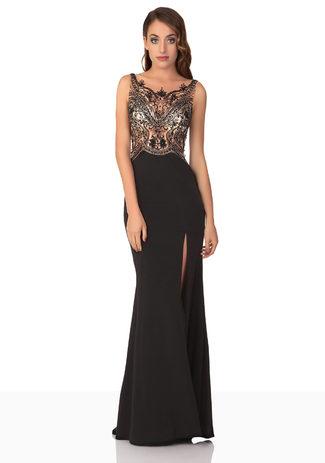 Langes Abendkleid in Schwarz aus Jersey
