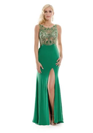 Abendkleid aus Jersey mit Glitzerdekor in Ultramarine Green